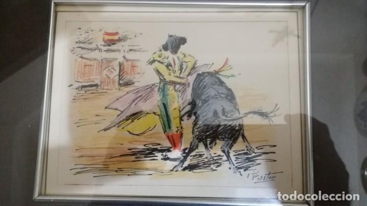 Arte: TAURINO - ENRIQUE PASTOR - ACUARELA Y TINTA SOBRE PAPEL - 16 X 13 CM -ENMARCADO - Foto 2 - 147083026
