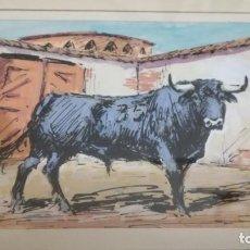 Arte: TAURINO - ENRIQUE PASTOR - ACUARELA Y TINTA SOBRE PAPEL - 15 X 11 CM -ENMARCADO. Lote 147083418