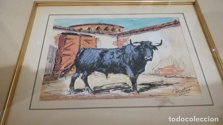 Arte: TAURINO - ENRIQUE PASTOR - ACUARELA Y TINTA SOBRE PAPEL - 15 X 11 CM -ENMARCADO - Foto 2 - 147083418