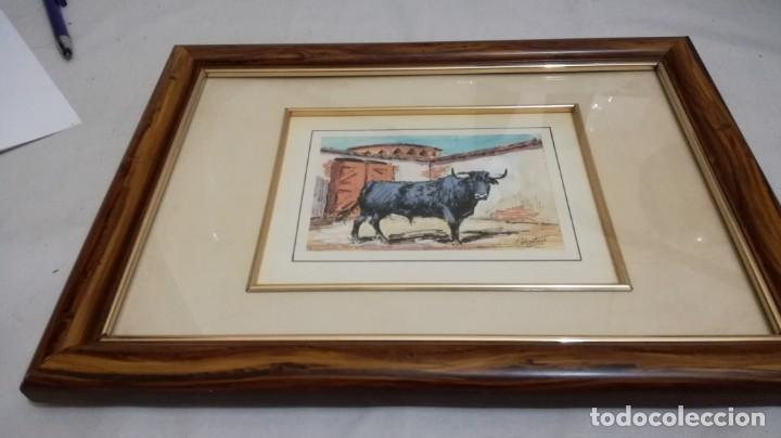 Arte: TAURINO - ENRIQUE PASTOR - ACUARELA Y TINTA SOBRE PAPEL - 15 X 11 CM -ENMARCADO - Foto 3 - 147083418