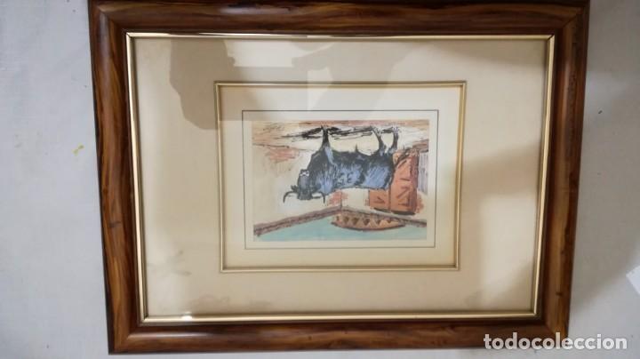 Arte: TAURINO - ENRIQUE PASTOR - ACUARELA Y TINTA SOBRE PAPEL - 15 X 11 CM -ENMARCADO - Foto 4 - 147083418