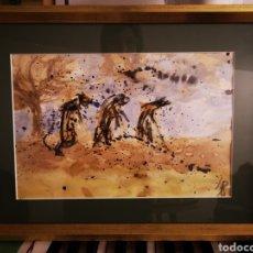 Arte: INTERESANTE ACUARELA SOBRE PAPEL CON MARCA DE AGUA, ENMARCADA Y FIRMADA 41X31CM TOTAL. Lote 147410524
