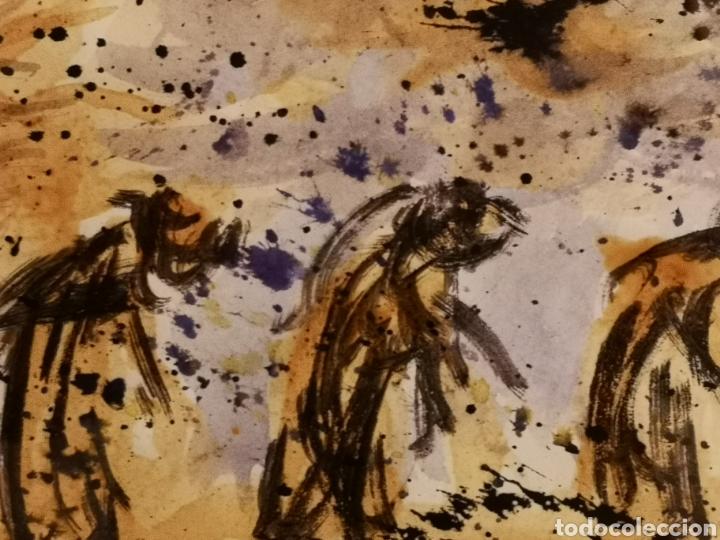 Arte: INTERESANTE ACUARELA SOBRE PAPEL CON MARCA DE AGUA, ENMARCADA Y FIRMADA 41X31CM TOTAL - Foto 3 - 147410524