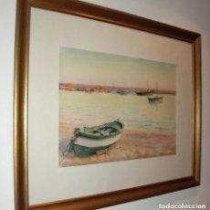 Arte: GABRIEL AMAT PAGÈS (1899-1984) ACUARELA/PAPEL 48 X 34 CM. BARCA Y VELEROS. FIRMADA. ENMARCADA.. Lote 147550542