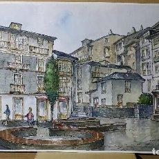 Arte: ACUARELA PLAZA DE PUEBLO 51,7X71,5 CMS FIRMADA. Lote 147992882