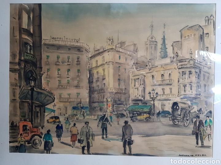 VIA LAYETANA POR ANTONIO GIMÉNEZ TOLEDO DE VELEZ (Arte - Acuarelas - Contemporáneas siglo XX)