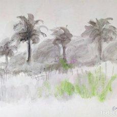 Arte: BOSQUE CON PALMERAS. ACUARELA SOBRE PAPEL. FIRMADO (FRANCESC) DOMINGO. BRASIL (?)1950. Lote 148196918