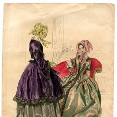Arte: GRABADO LITOGRÁFICO MODAS DE PARIS PETIT COURRIER DES DAMES. MODES DE LONGCHAMPS. AÑO 1844. Lote 148217198