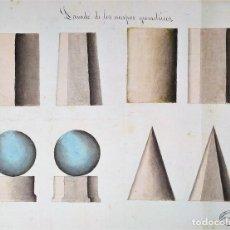 Arte: ESTUDIO DE SOMBREADO DE POLÍGONOS. ACUARELA. ATRIB. JOAQUIN CARCERENY. ESPAÑA. XIX. Lote 148324642
