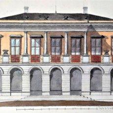 Arte: PROYECTO DE PALACETE EN BARCELONA. ACUARELA SOBRE PAPEL. JOAQUIN CARCERENY. ESPAÑA. XIX. Lote 148455358