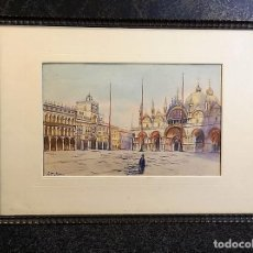 Arte: VENECIA ACUARELA FIRMADA Y ANTIGUA. Lote 148731538