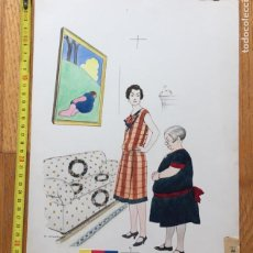 Arte: DIBUJO TINTA COLOREADA ACUARELA , EUGEN KIRCHNER, SOBRE 1925 ORIGINAL BOCETO. Lote 148783370