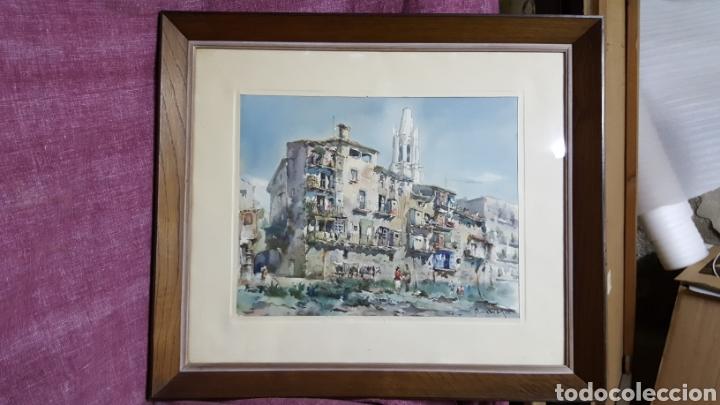 ACUARELA DE JAUME ROCA DELPECH (VISTA DE GIRONA) 1948 (Arte - Acuarelas - Contemporáneas siglo XX)