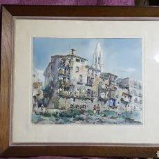 Arte: ACUARELA DE JAUME ROCA DELPECH (VISTA DE GIRONA) 1948. Lote 149206080