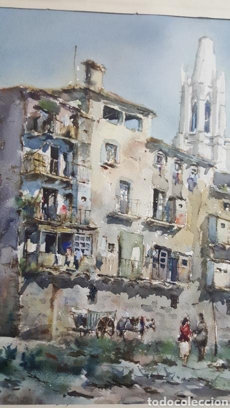 Arte: ACUARELA DE JAUME ROCA DELPECH (Vista de Girona) 1948 - Foto 4 - 149206080