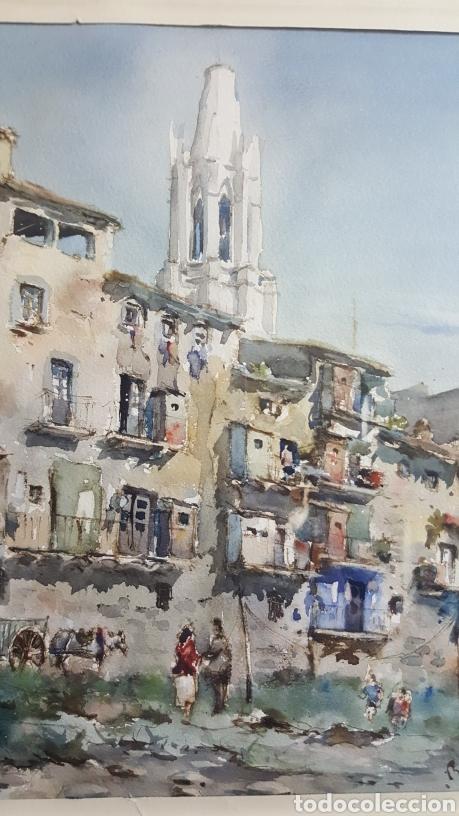 Arte: ACUARELA DE JAUME ROCA DELPECH (Vista de Girona) 1948 - Foto 5 - 149206080