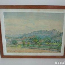 Arte: GRABIEL AMAT PAGES (1889- 1984) - ACUARELA - PAISAJE - CINGLES D´AYATS, SANTUARI DE CABRERA - 1970 . Lote 149431690
