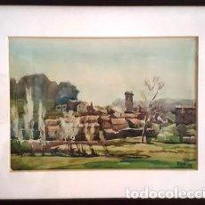 Arte: CUADRO ENMARCADO - ACUARELA - POBLE - FIRMADA - PLA - AÑO - 1958 -. Lote 150600274