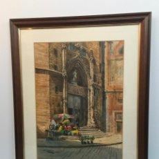 Arte: FRANCISCO CLAVERO , SANTA MARIA DEL MAR , BARCELONA , ACUARELA. Lote 151087826