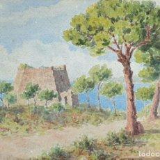 Arte: PAISAJE COSTERO. ACUARELA SOBRE PAPEL. FIRMADO SALVADÓ. 1934.. Lote 151354046