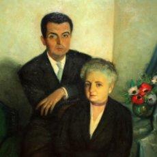 Arte: JESUS CASAUS MECHO (BARCELONA, 1926 - 2002) OLEO SOBRE TELA. RETRATO FAMILIAR. Lote 151354178