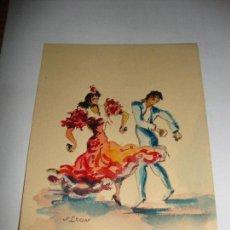 Arte: PEQUEÑA ACUARELA FIRMADO POR J LEON BAILAORES. Lote 151418342