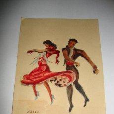 Arte: PEQUEÑA ACUARELA FIRMADO POR J LEON BAILAORES. Lote 151418426