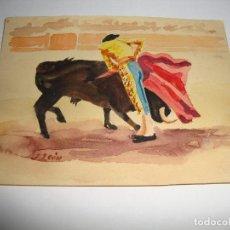 Arte: PEQUEÑA ACUARELA FIRMADO POR J LEON TOREANDO. Lote 151418446
