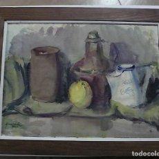 Arte: QUESADA, PRECIOSO BODEGON CON VASIJAS Y FRUTA. Lote 151433258