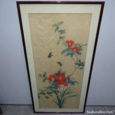 Arte: GRAN ACUARELA CHINA SOBRE SEDA.FLORES Y MARIPOSAS.. Lote 151556902