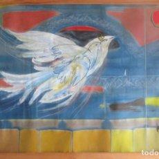 Arte: ACUARELA ORIGINAL JOAN MIRÓ SOLÉ AÑO 1994 LA PALOMA DE LA PAZ 109 CM X 75 CM. Lote 151948590