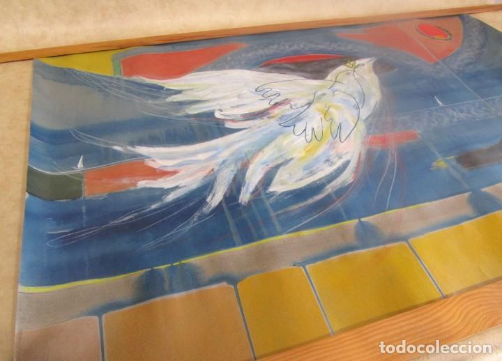Arte: acuarela original Joan Miró Solé año 1994 la paloma de la paz 109 cm x 75 cm - Foto 3 - 151948590