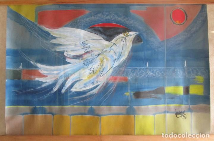 Arte: acuarela original Joan Miró Solé año 1994 la paloma de la paz 109 cm x 75 cm - Foto 4 - 151948590