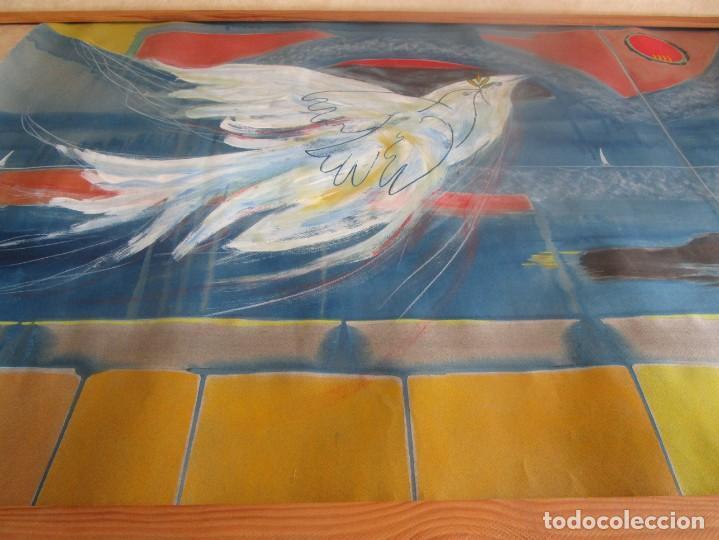 Arte: acuarela original Joan Miró Solé año 1994 la paloma de la paz 109 cm x 75 cm - Foto 6 - 151948590