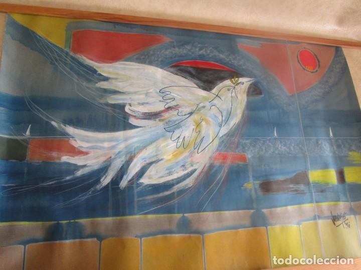 Arte: acuarela original Joan Miró Solé año 1994 la paloma de la paz 109 cm x 75 cm - Foto 7 - 151948590