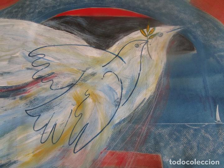 Arte: acuarela original Joan Miró Solé año 1994 la paloma de la paz 109 cm x 75 cm - Foto 8 - 151948590