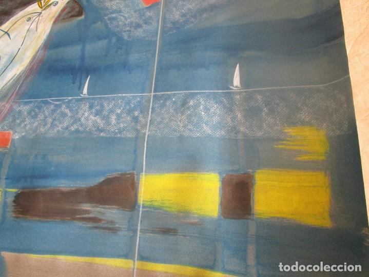 Arte: acuarela original Joan Miró Solé año 1994 la paloma de la paz 109 cm x 75 cm - Foto 9 - 151948590