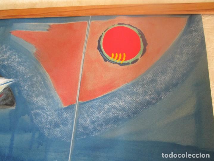 Arte: acuarela original Joan Miró Solé año 1994 la paloma de la paz 109 cm x 75 cm - Foto 10 - 151948590