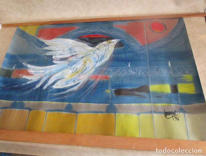 Arte: acuarela original Joan Miró Solé año 1994 la paloma de la paz 109 cm x 75 cm - Foto 12 - 151948590