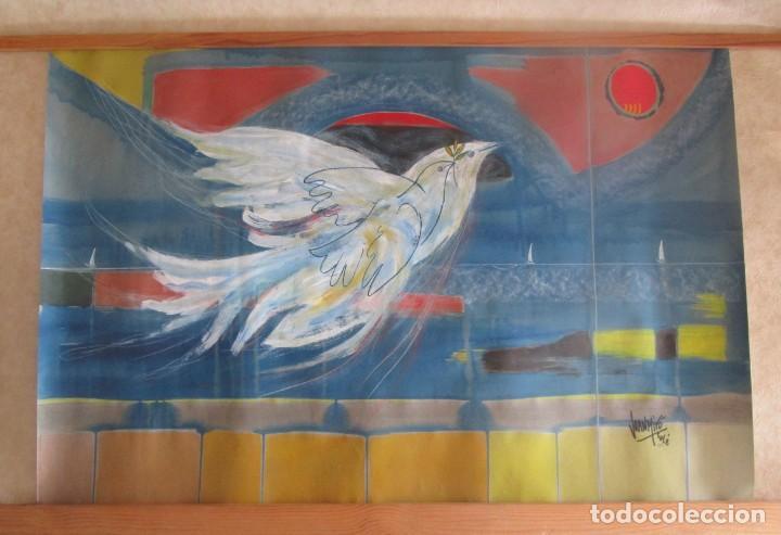 Arte: acuarela original Joan Miró Solé año 1994 la paloma de la paz 109 cm x 75 cm - Foto 13 - 151948590