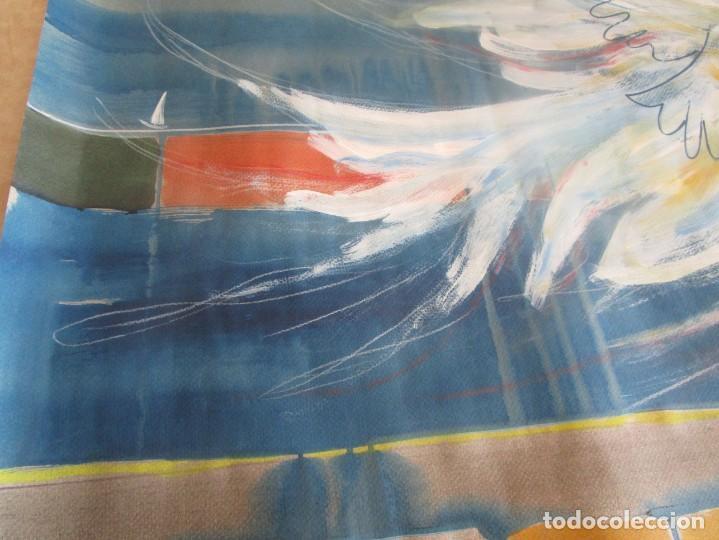 Arte: acuarela original Joan Miró Solé año 1994 la paloma de la paz 109 cm x 75 cm - Foto 14 - 151948590