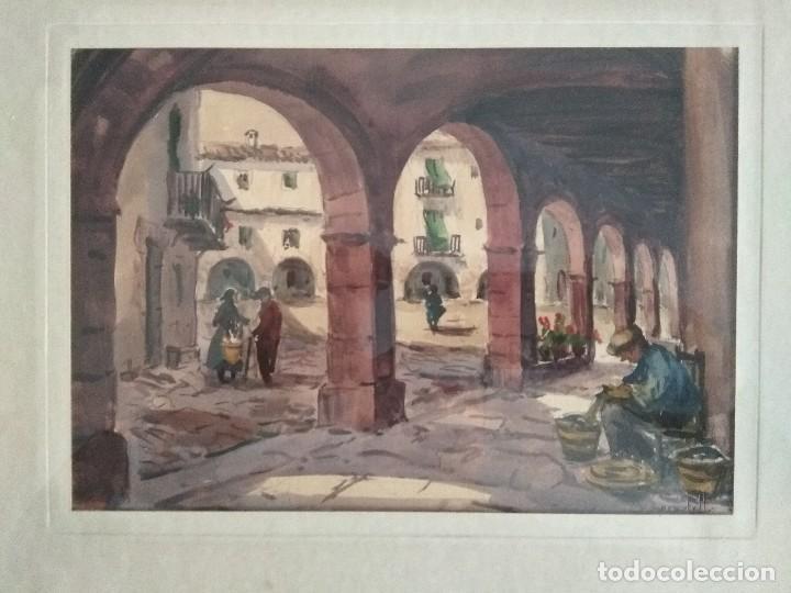 ACUARELA DE R.CASTELL EN PERFECTO ESTADO. (Arte - Acuarelas - Contemporáneas siglo XX)