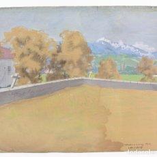 Arte: TOMÁS GUTIÉRREZ LARRAYA, DIBUJO TÉCNICA MIXTA, 1914, MAZCUERRAS, CANTABRIA, PAISAJE Y CEMENTERIO.. Lote 152186234