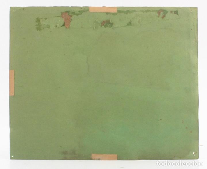 Arte: Tomás Gutiérrez Larraya, dibujo técnica mixta, 1914, Mazcuerras, Cantabria, paisaje y cementerio. - Foto 9 - 152186234