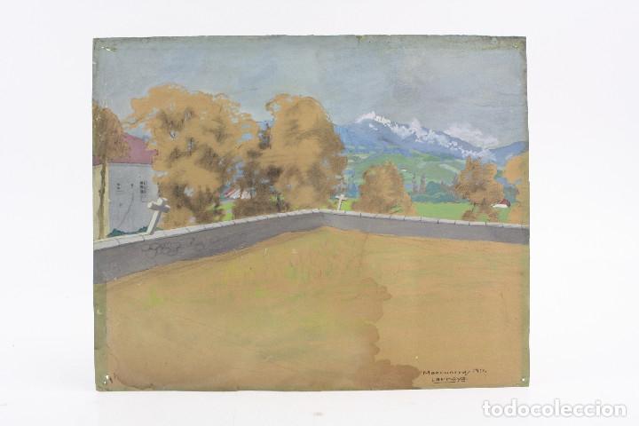 Arte: Tomás Gutiérrez Larraya, dibujo técnica mixta, 1914, Mazcuerras, Cantabria, paisaje y cementerio. - Foto 2 - 152186234