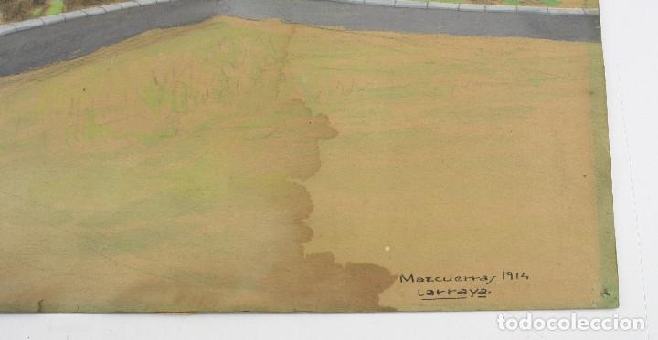 Arte: Tomás Gutiérrez Larraya, dibujo técnica mixta, 1914, Mazcuerras, Cantabria, paisaje y cementerio. - Foto 4 - 152186234