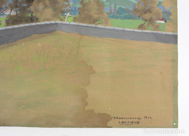 Arte: Tomás Gutiérrez Larraya, dibujo técnica mixta, 1914, Mazcuerras, Cantabria, paisaje y cementerio. - Foto 5 - 152186234