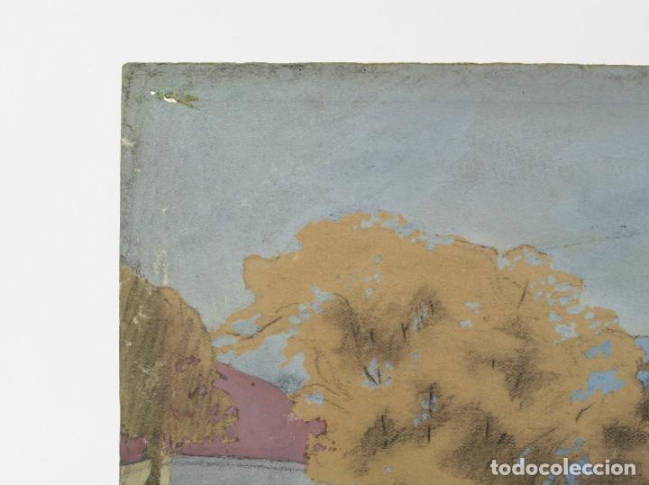 Arte: Tomás Gutiérrez Larraya, dibujo técnica mixta, 1914, Mazcuerras, Cantabria, paisaje y cementerio. - Foto 6 - 152186234