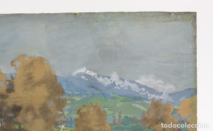 Arte: Tomás Gutiérrez Larraya, dibujo técnica mixta, 1914, Mazcuerras, Cantabria, paisaje y cementerio. - Foto 8 - 152186234