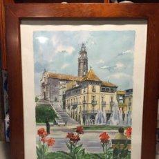 Arte: ANTIGUA ACUARELA DE MANLLEU DEL PINTOR J.M. CALBÓ DE LA JUBILACIÓN DE UN TRABAJADOR DE EUROCLIMA. Lote 159032156
